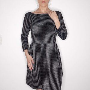 Striped 3/4 sleeve Pocketed Dress